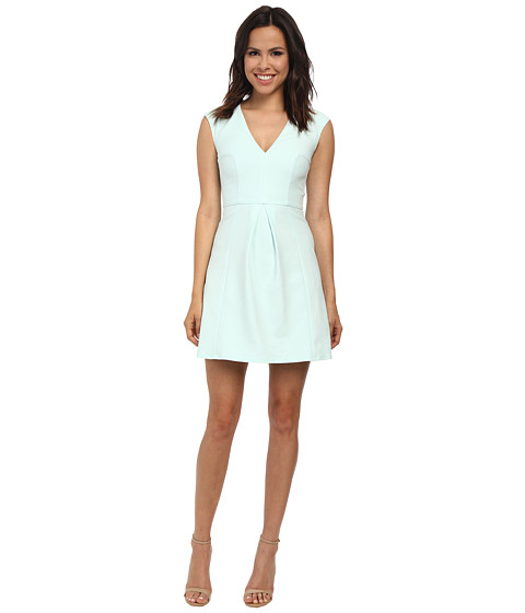 French Connection - Classic Capri Cotton V-Neck Dress 71DQE (Fresh Aqua) Women