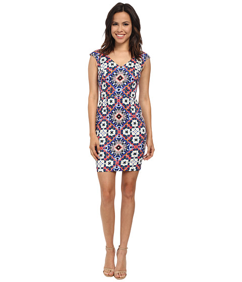 French Connection - Electric Mosaic Cotton Dress (Electric Blue Multi) Women's Dress