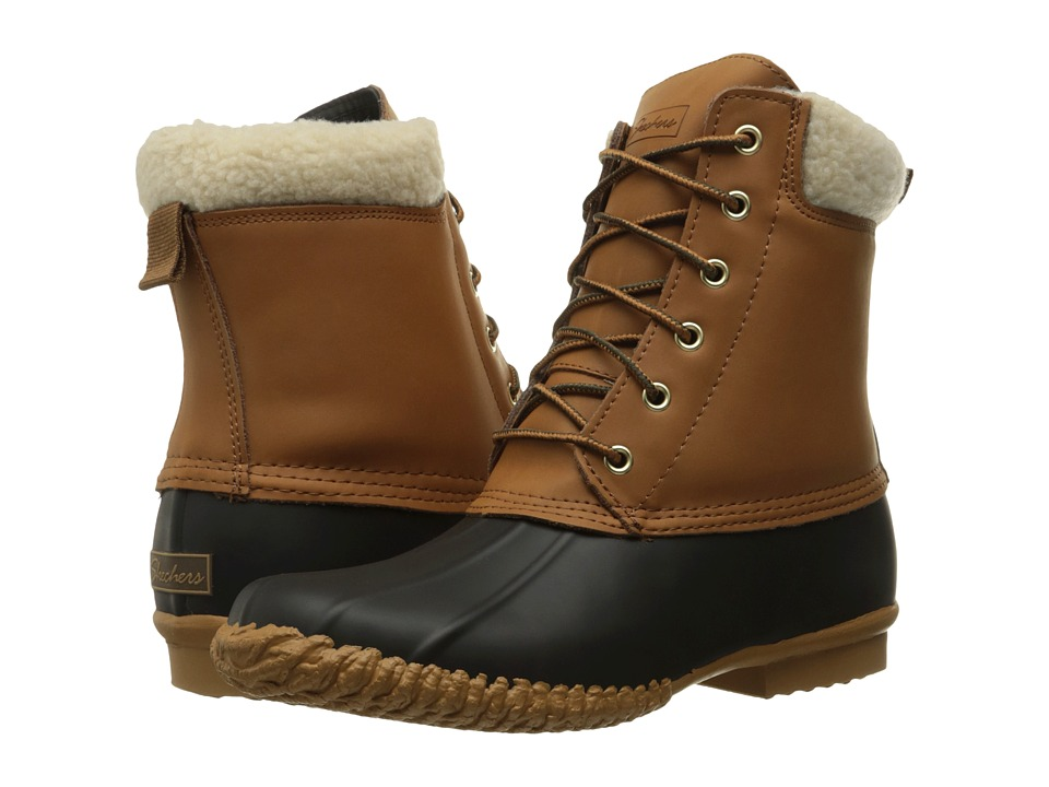 SKECHERS - Duck Boot (Black/Tan) Women's Lace-up Boots