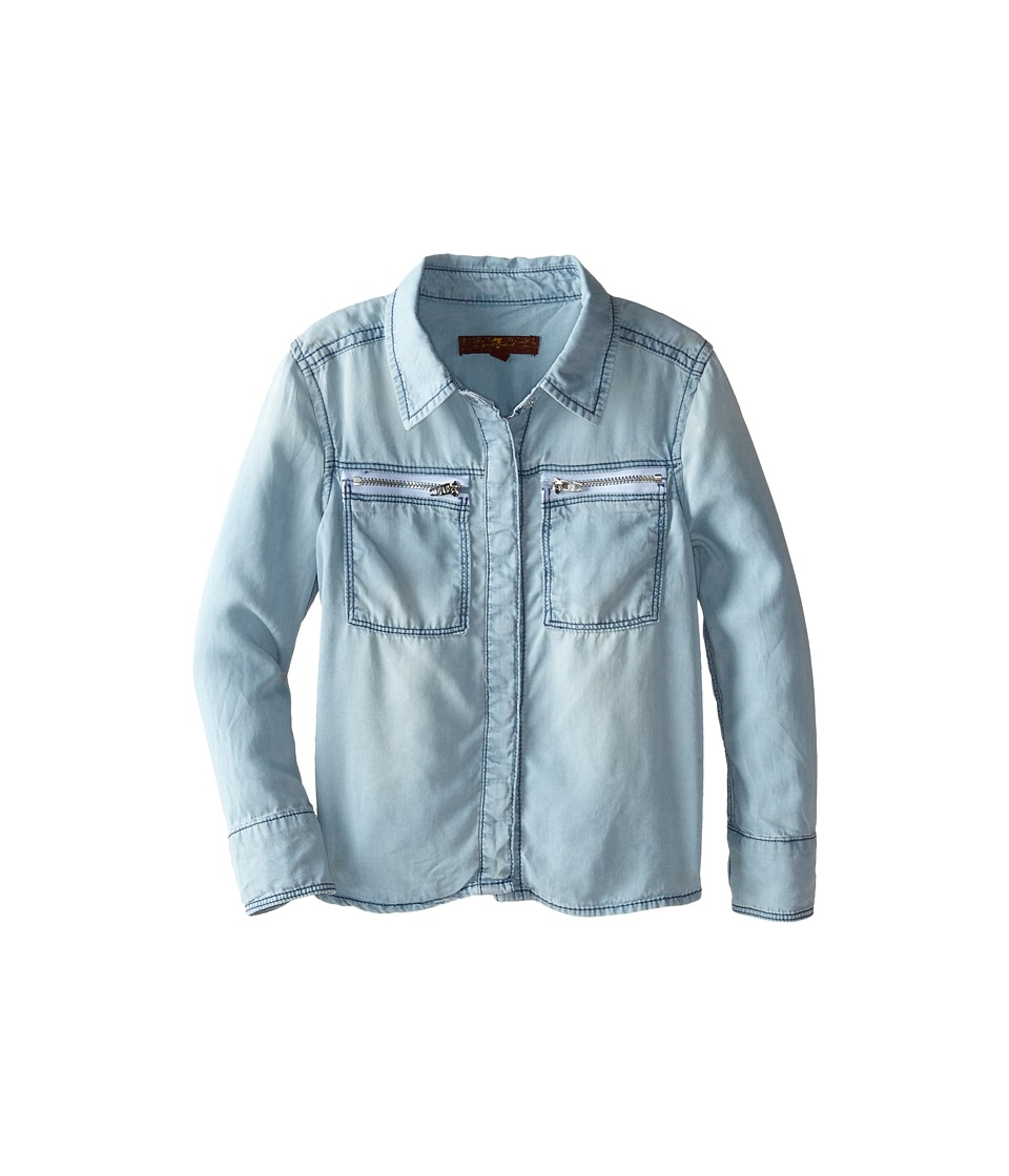 7 For All Mankind Kids - Chambray Shirt (Little Kids) (Bleached Out) Girl's Jacket