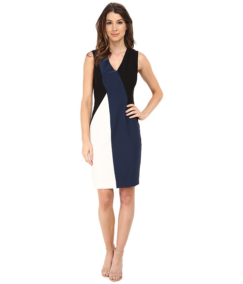 Anne Klein - All Angles Color Block Sheath Dress (Black Combo) Women