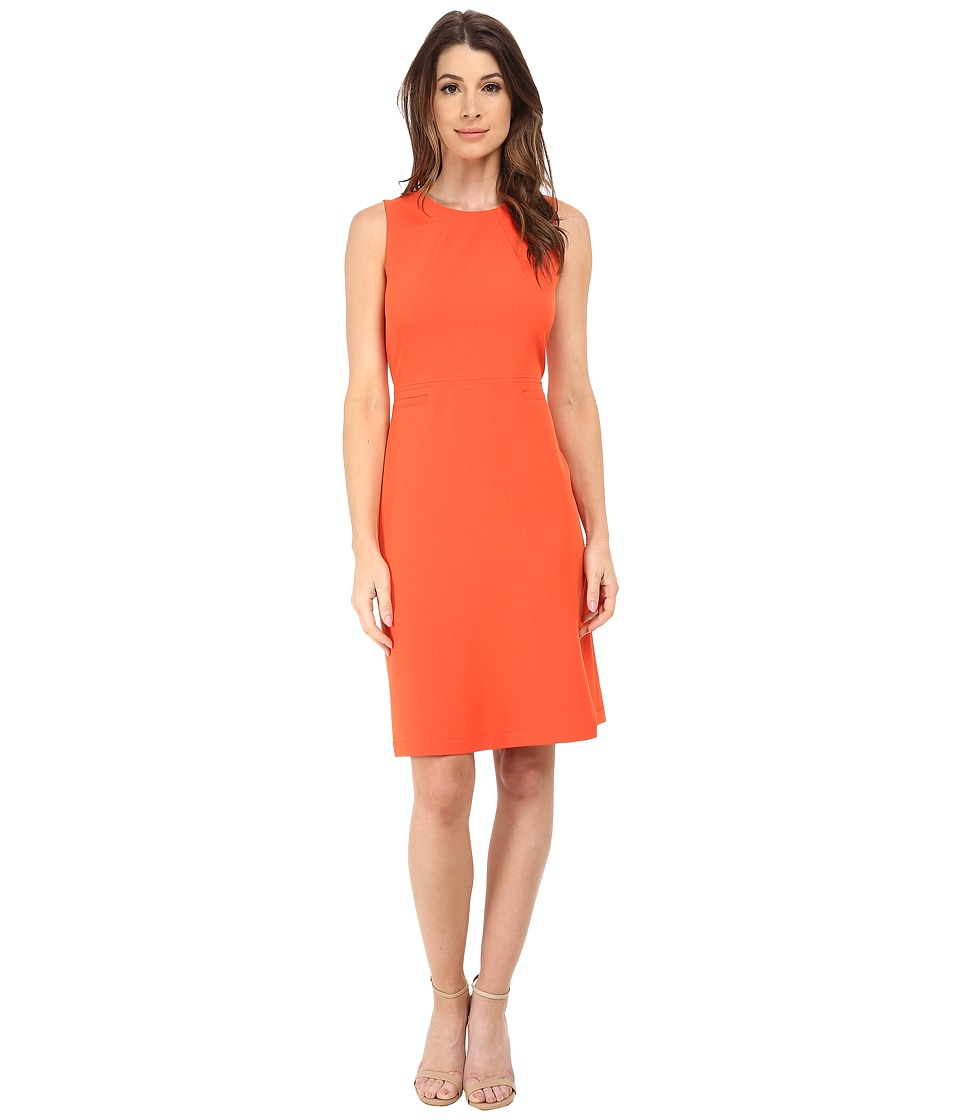 Anne Klein - Stretch Crepe Fit Flare Dress (Orange) Women