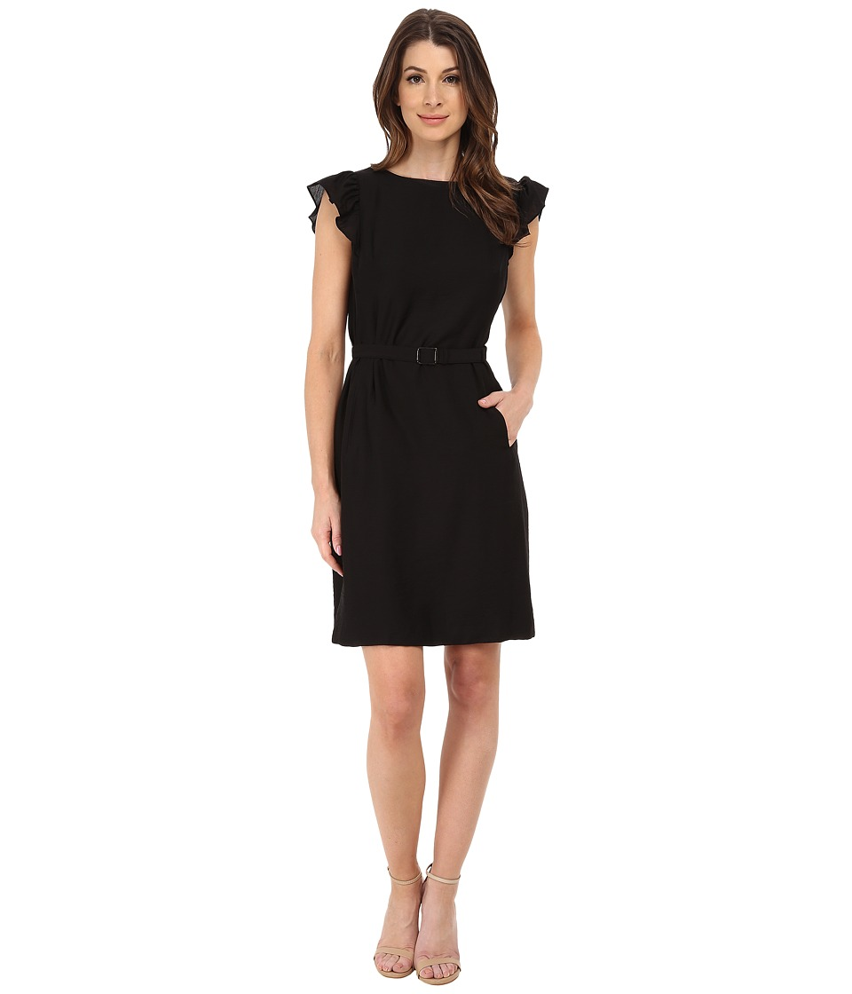 Anne Klein - Silk Like Flutter Sleeve Dress (Black) Women's Dress