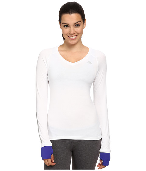 adidas - Supernova Long Sleeve Tee (White/Night Flash Purple) Women
