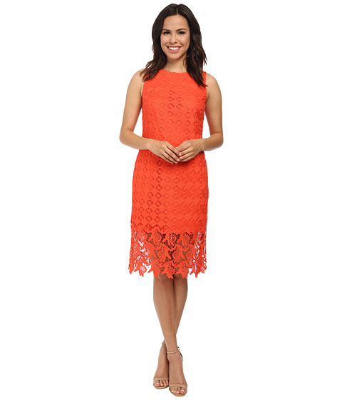 julia jordan - Floral Lace Sleeveless Dress (Coral) Women's Dress