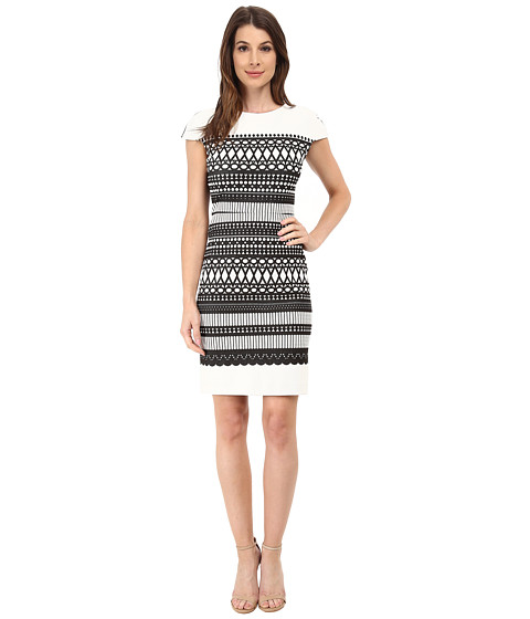julia jordan - Geo Print Knit Dresss (Black/White) Women's Dress