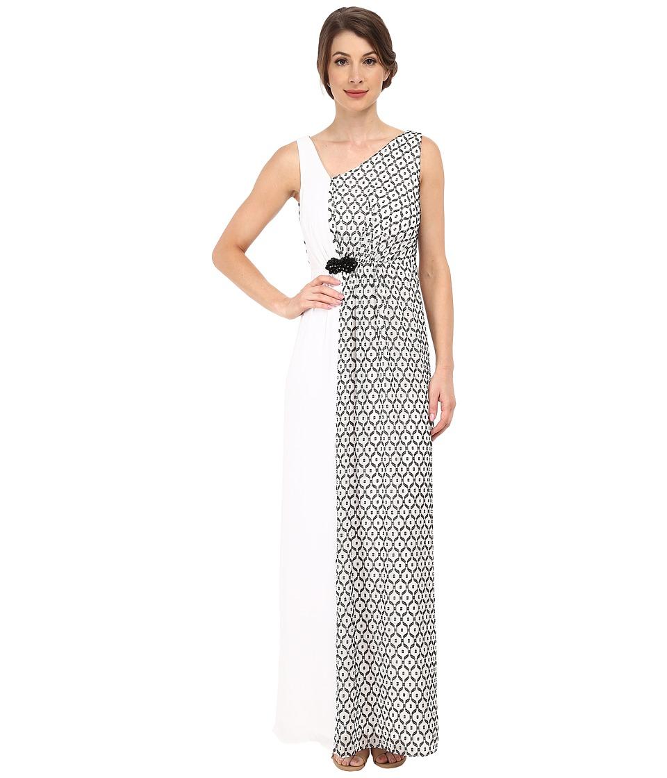 Nine West - Sleeveless Asymmetrical V-Neck Gown (Black/White) Women