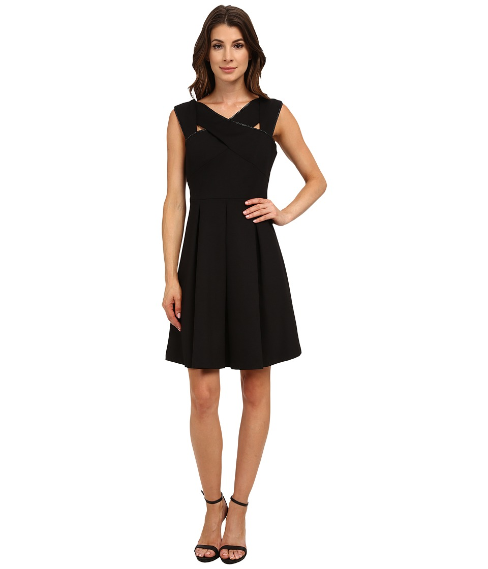 Nine West - Strappy Solid Ponte Fit and Flare (Black) Women's Dress