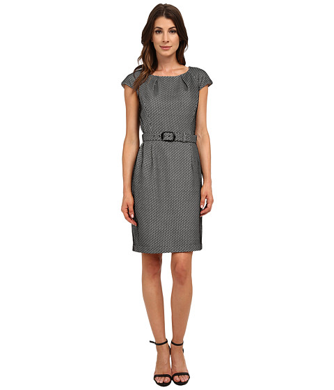 Nine West - Bonded Fishnet Belted Dress (Black/Ivory) Women's Dress