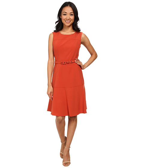 Nine West - Sleeveless Bi-Stretch Dress with Belt (Sienna) Women