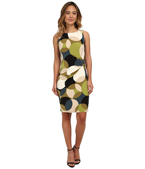 Nine West - Sleevless Mod Dot Sheath Dress with Side Knot Detail (Olive Combo) Women's Dress