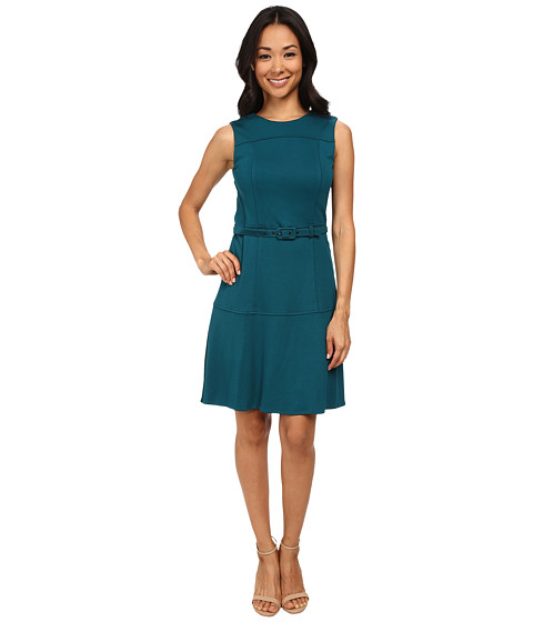 Nine West - Ponte Drop Waist Dress with Belt (Teal) Women