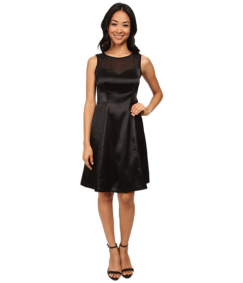Nine West - Crepe Satin Fit and Flare Cocktail Dress with Mesh Neckline (Black) Women