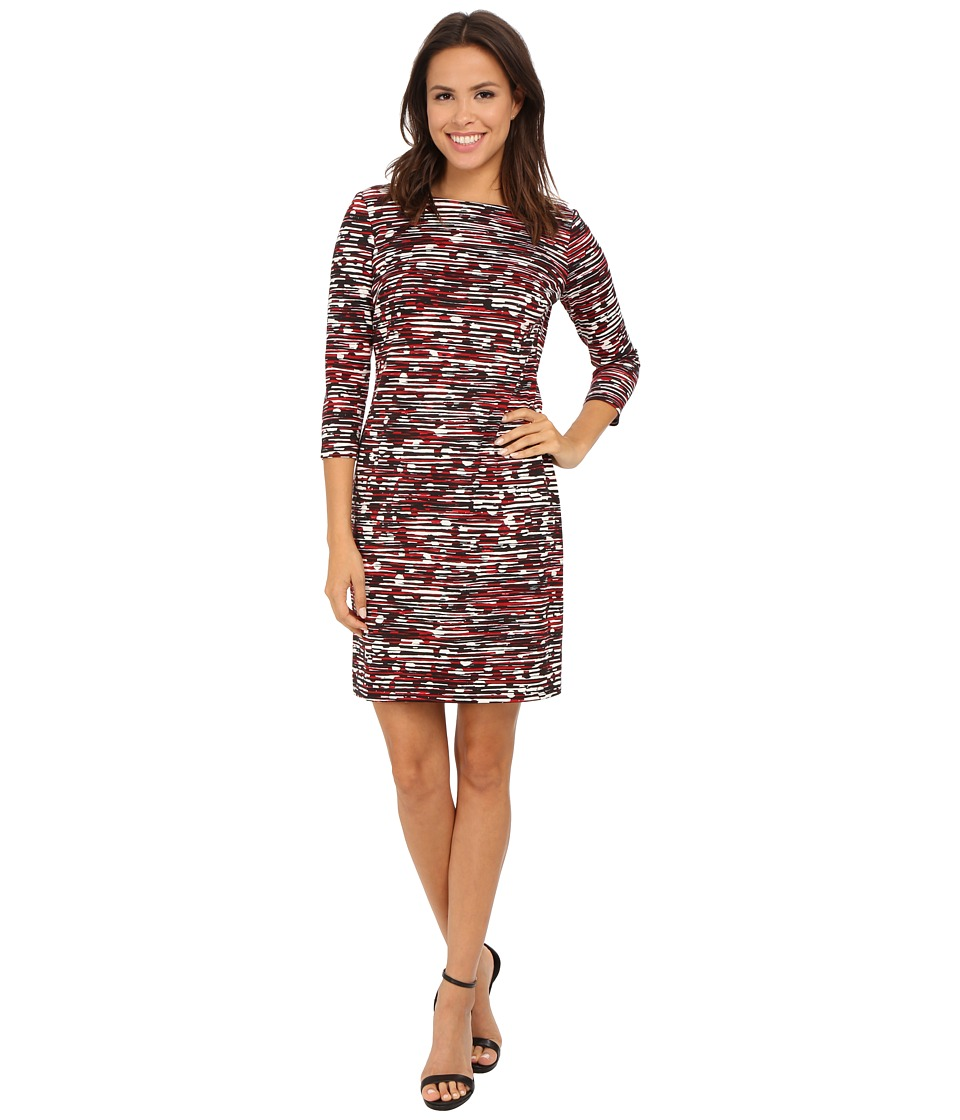Nine West - Scratch Printed Ponte T-Shirt Dress (Fire Red Combo) Women