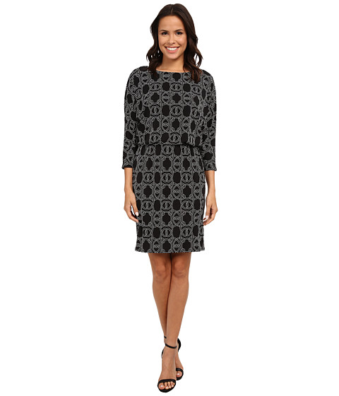 Nine West - 3/4 Sleeve Ornate Links Blouson (Black/Ivory) Women's Dress