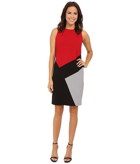 Nine West - Sleeveless Bi-Stretch Color Block Dress (Fire Red Combo) Women