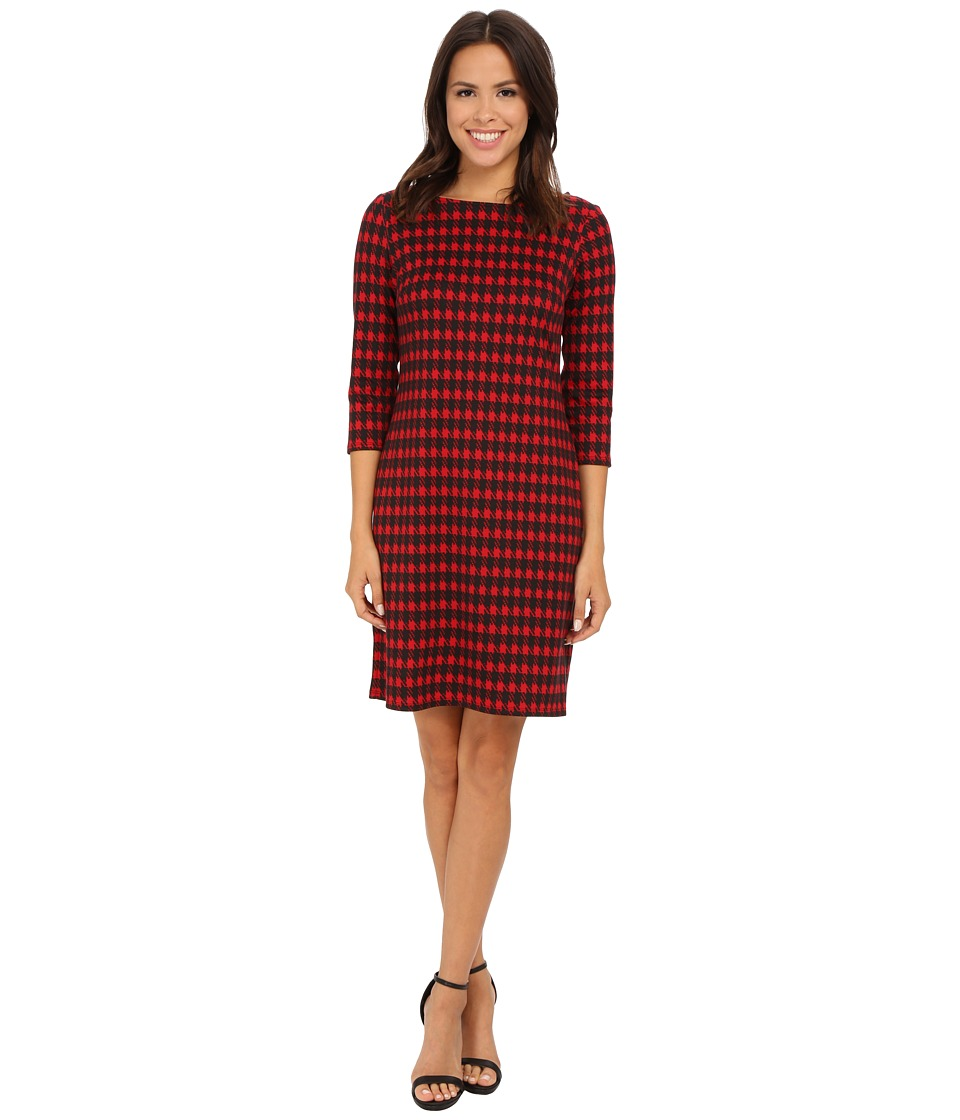 Nine West - Houndstooth Printed Ponte T-Shirt Dress (Fire Red/Black) Women