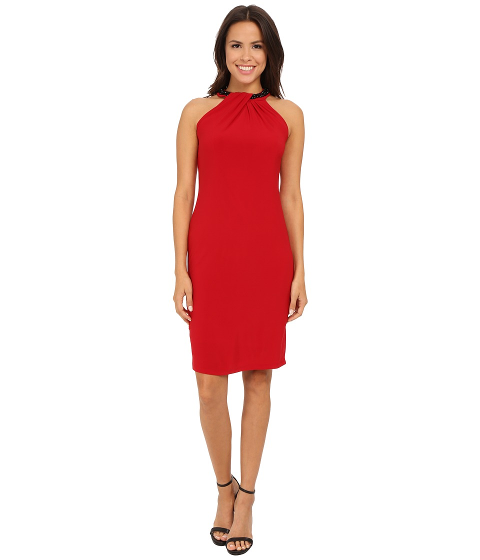 Nine West - Sleeveless Jersey Shift Dress with Neck Detail (Pomegranate) Women's Dress