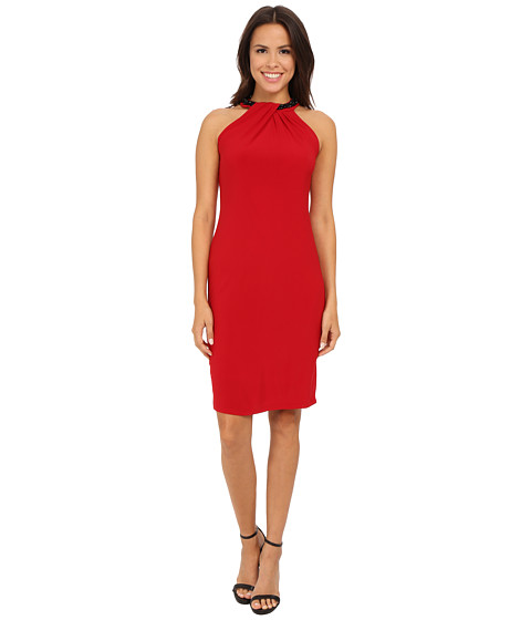 Nine West - Sleeveless Jersey Shift Dress with Neck Detail (Pomegranate) Women