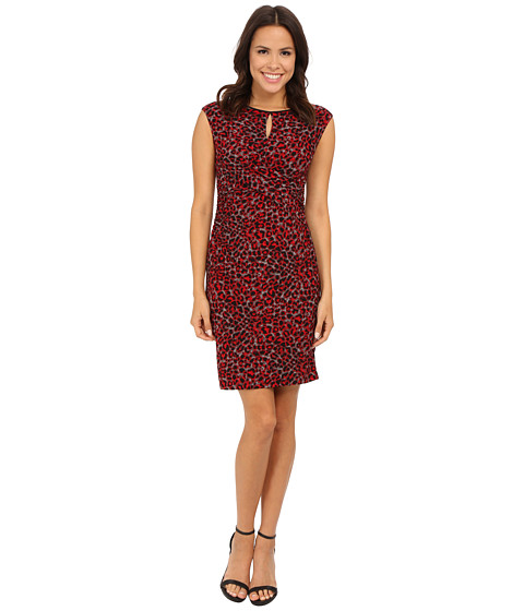Nine West - Cap Sleeved Mottled Animal Rouched Dress (Fire Red Combo) Women's Dress