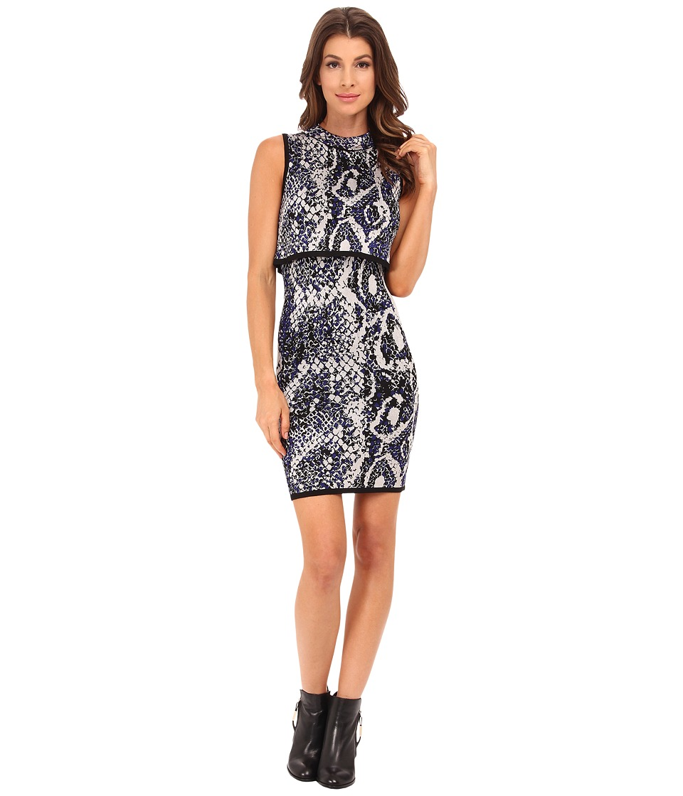 French Connection - Spotlight Boa Dress 71EEN (Monarch Blue Multi) Women's Dress