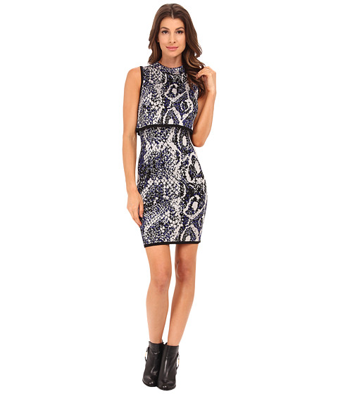 French Connection - Spotlight Boa Dress 71EEN (Monarch Blue Multi) Women