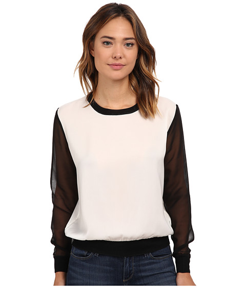 French Connection - Lou Lou Satin Top 72EBK (Black/Winter White) Women's Long Sleeve Pullover