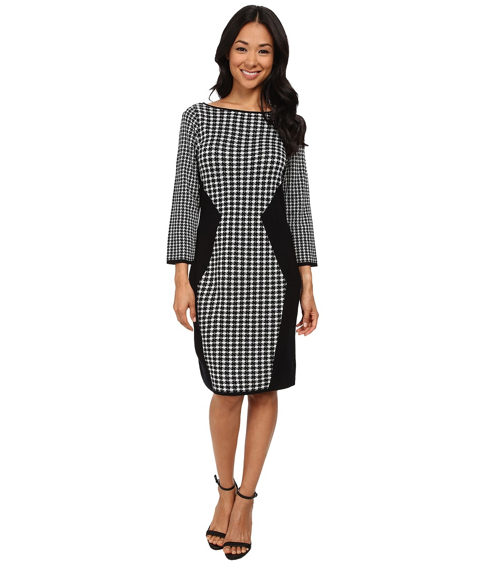 Nine West - Long Sleeved Geometric Dress (Black/Ivory) Women