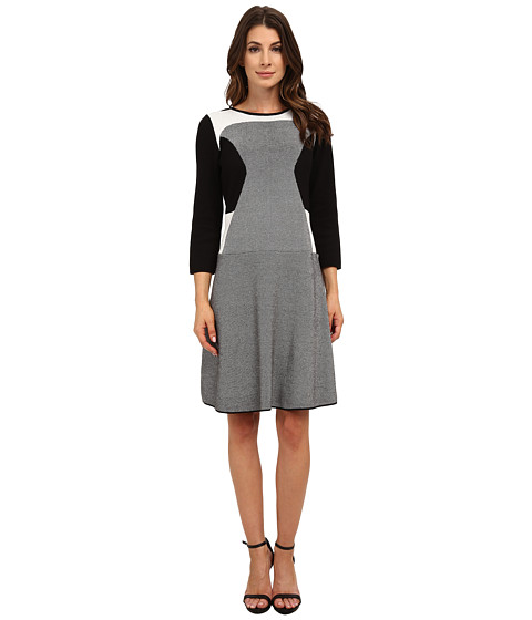 Nine West - Color Block Fit and Flare Dress (Black Ivory) Women's Dress