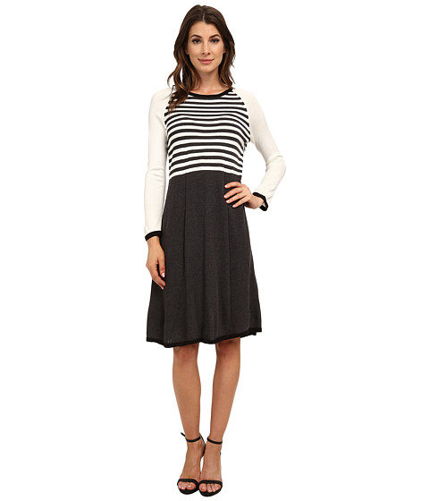 Nine West - 3/4 Sleeve Striped Color Block Fit and Flare Dress (Charcoal/Ivory/Black) Women's Dress
