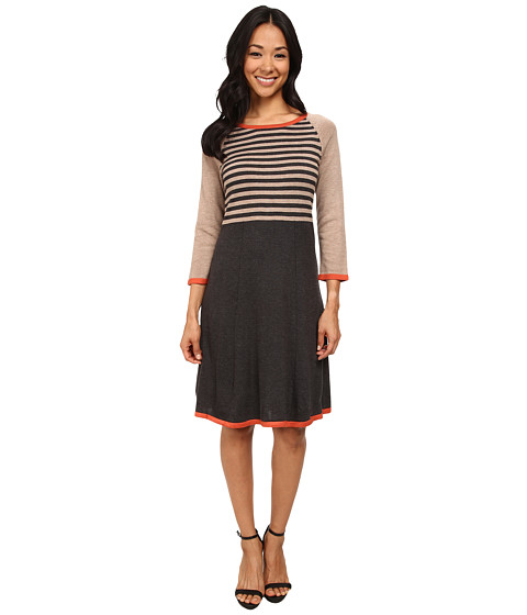 Nine West - 3/4 Sleeve Striped Color Block Fit and Flare Dress (Charcoal/Toffee/Sienna) Women's Dress