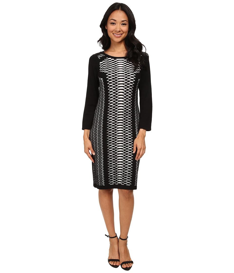Nine West - 3/4 Sleeve Mesh Like Design Dress (Black/Ivory) Women's Dress
