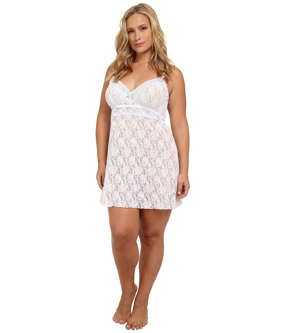 Hanky Panky - Plus Size Annabelle Chemise (White/Baby Blue) Women's Underwear