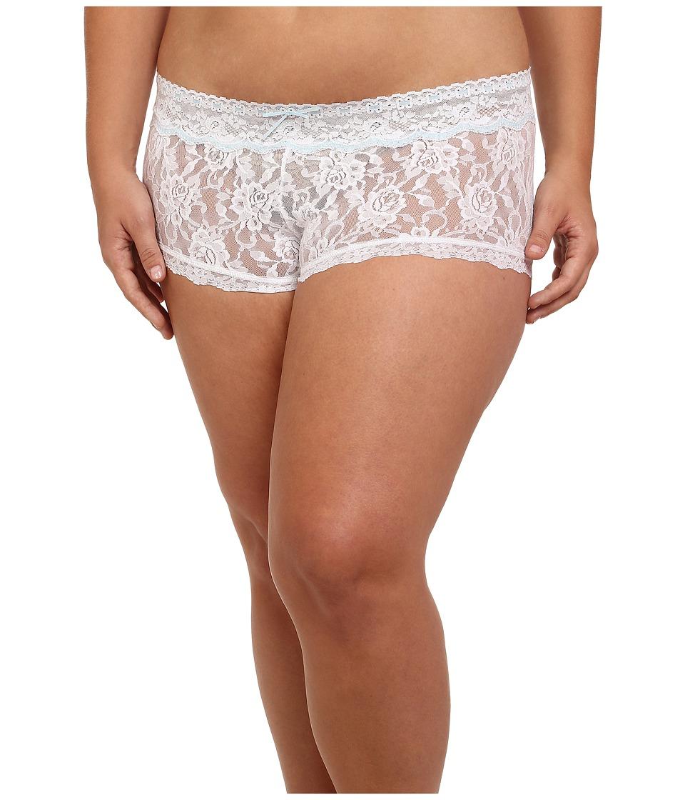 Hanky Panky - Plus Size Annabelle Boyshorts (White/Baby Blue) Women's Underwear