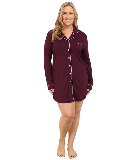 Cosabella - Plus Size Bella Plus Nightshirt (Mulberry/Marshmallow) Women's Pajama