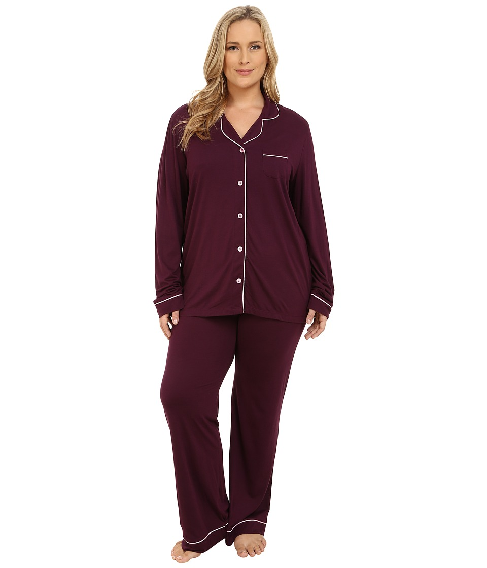Cosabella - Plus Size Bella PJ Long Sleeve Top and Pants PJ Set (Mulberry/Marshmallow) Women's Pajama Sets