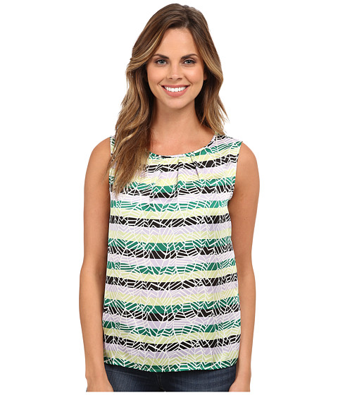 Nine West - Printed Pin Tuck Neck Line Dull Dulce Cami (Honeydew/Jungle Multi) Women's Sleeveless