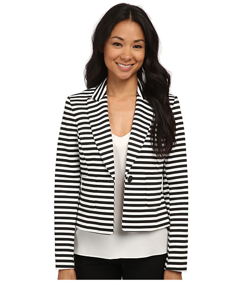 Nine West - Stripe Ponte One-Button Notch Lapel Jacket (Black/Ivory) Women's Coat