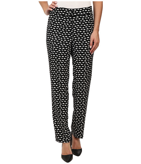 Nine West - Printed Crepe Skinny Pants (Black/Ivory) Women