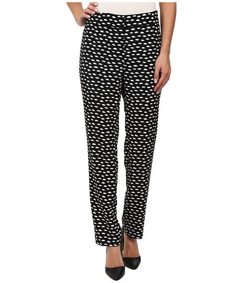 Nine West - Printed Crepe Skinny Pants (Black/Ivory) Women