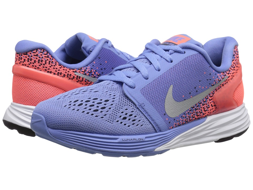Nike Kids - Lunarglide 7 (Big Kid) (Chalk Blue/Obsidian/Bright Mango/Metallic Silver) Girls Shoes