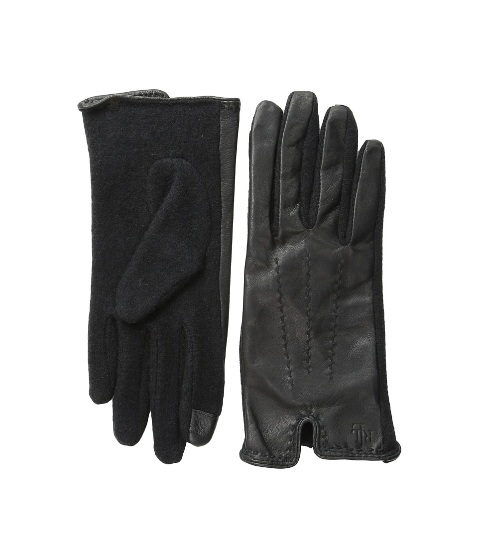 LAUREN by Ralph Lauren - Color Stitch Hybrid Touch Glove (Black/Black) Wool Gloves
