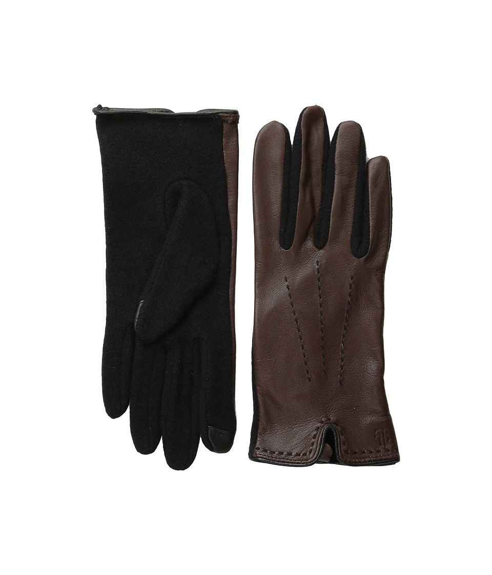 LAUREN Ralph Lauren - Color Stitch Hybrid Touch Glove (Coffee/Black) Wool Gloves