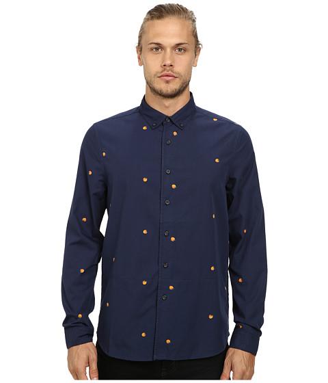 Alternative - Poplin Button Up Shirt (Ditsy Peach) Men's Long Sleeve Button Up