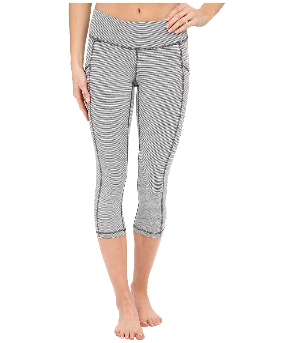 Lucy - Pocket Capri Legging (Fossil Heather/Lucy White Stripe) Women's Capri