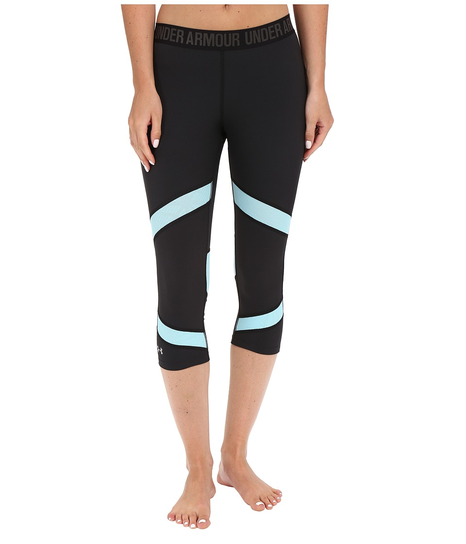 Under Armour - Coolswitch Capris (Black/Sky Blue/Reflective) Women's Capri