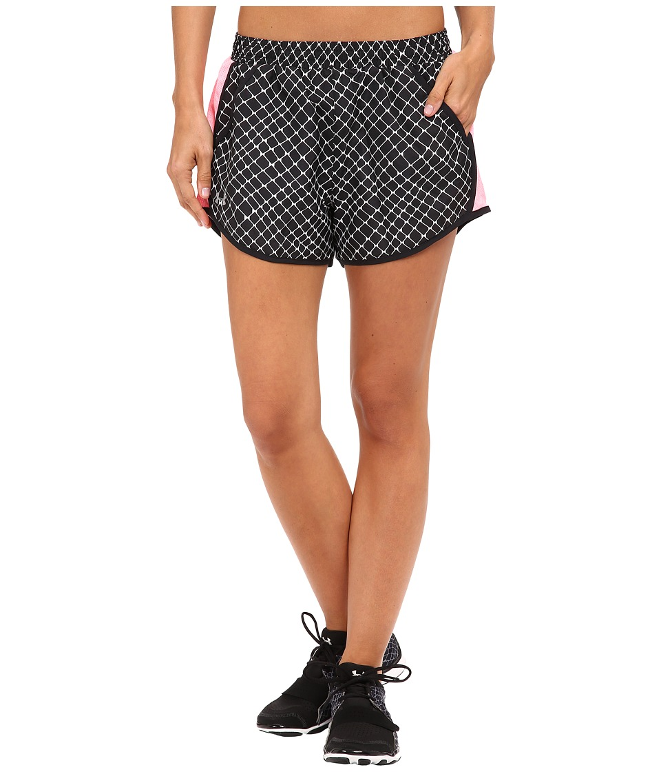 Under Armour - Fly By Printed Run Shorts (Black/Black/Reflective) Women's Shorts