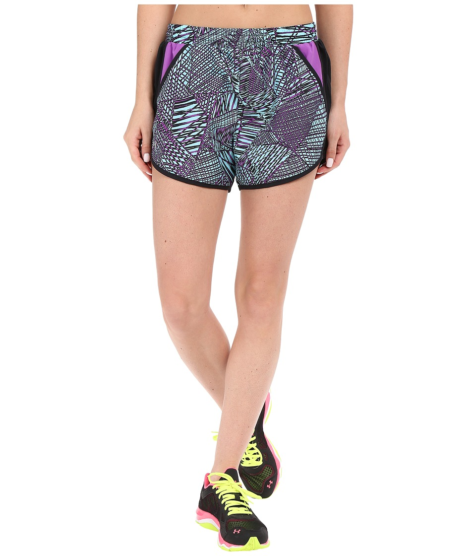 Under Armour - Fly By Printed Run Shorts (Black/White/Reflective) Women's Shorts