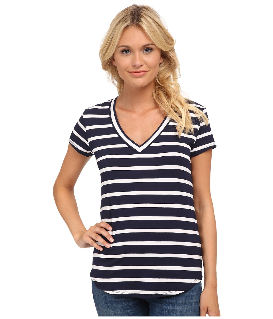 LAmade - V-Neck T-Shirt (Navy Stripe) Women's T Shirt
