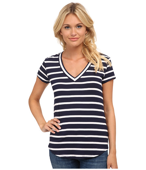 LAmade - V-Neck T-Shirt (Navy Stripe) Women